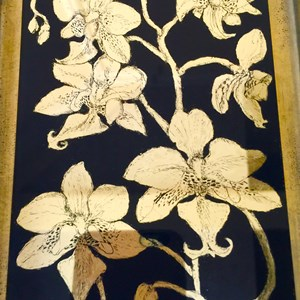 Orchids in White gold. Framed white gold on navy background. 21.5cm x 26.5 cm £375:00