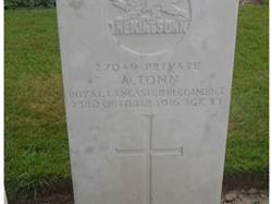 Pte Arthur Tonn's headstone, Guards' Cemetery, Lesboeufs, France