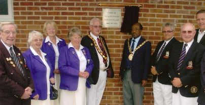 The 2010 extension official opening - (from left) Secretary/Trustee - Spencer Pritchard, Ladies'  Secretary/Life Member - Shirley Tucker, Ladies' President - Nita Lynch, Ladies' Captain - Jean Hagues,  WCBA President - Aubrey Brookhouse, Mayor of Rugby - Cllr Don Williams, Rugby Bowling Club President - Nigel Hewitson, Trustee and Life Member - Bill Yates,   Adrian Bunyard of Lafarge Aggregates.