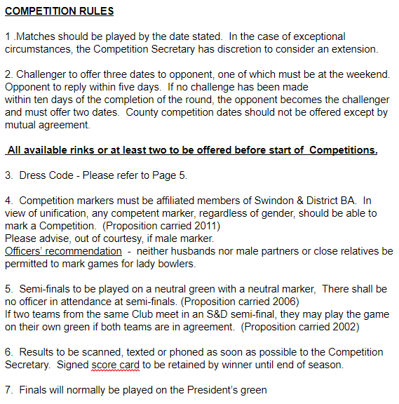 Rules Swindon And District Womens Bowls Association Swindon And