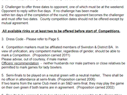 Swindon and District Women's Bowls Association Rules