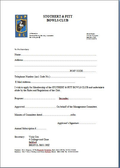 Membership forms are available at The Clubhouse, from the Secretary, or you can print this one and bring it along.