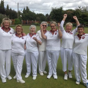 Janet Robins West Surrey Singles winner with Helen Burgess, Margaret Potter, Margaret Punter,Sandra Everest, Mo Guy and Gill Platt West Surrey League winners.