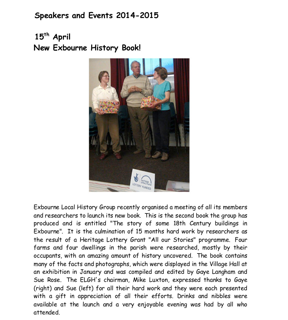 Exbourne Local History Group 2014-2015