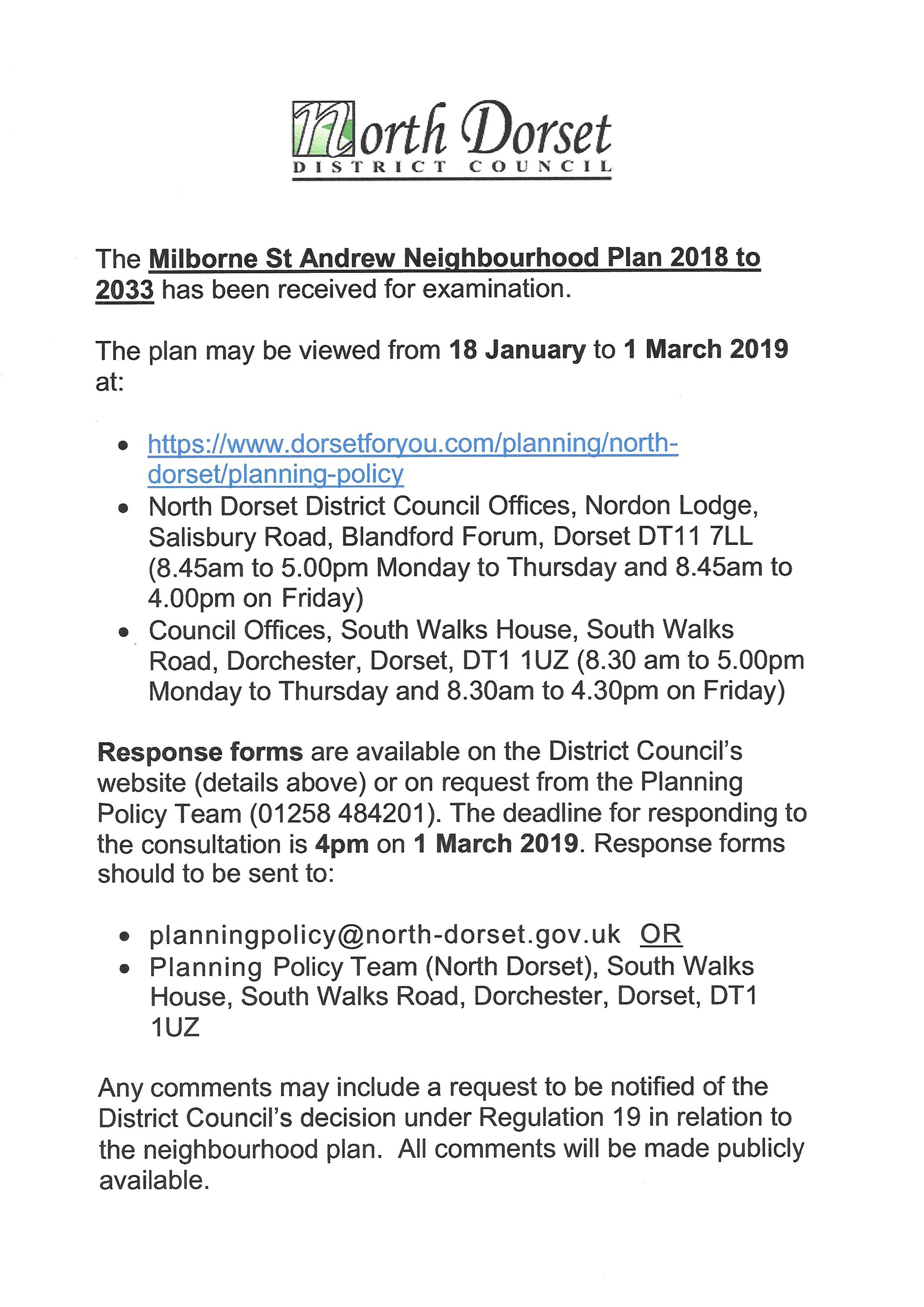 Milborne St Andrew Parish Council NP Consultation