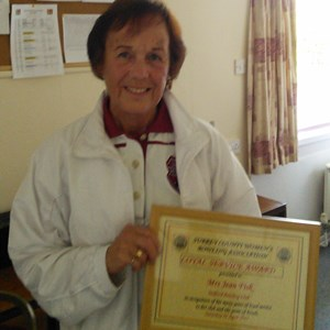 Jean with her loyal service certificate