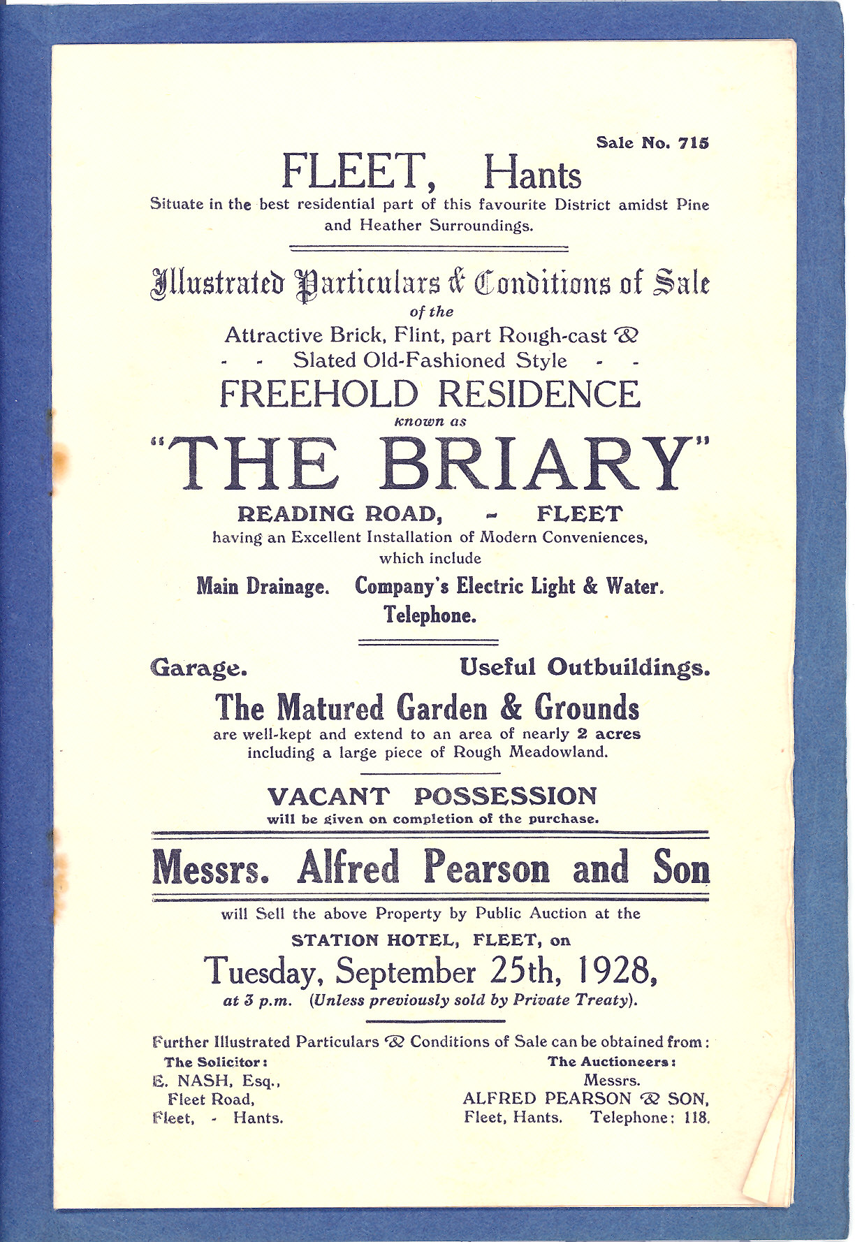 Sale particulars 1928 The Briary