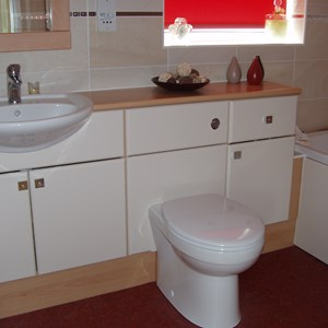 White and Red Bathroom Suite
