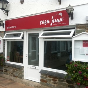 Casa Juan please call to book a table 01326 250714. open 18.00 - 22.00.