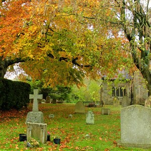 Churchyard in Autumn - Claire Whatley