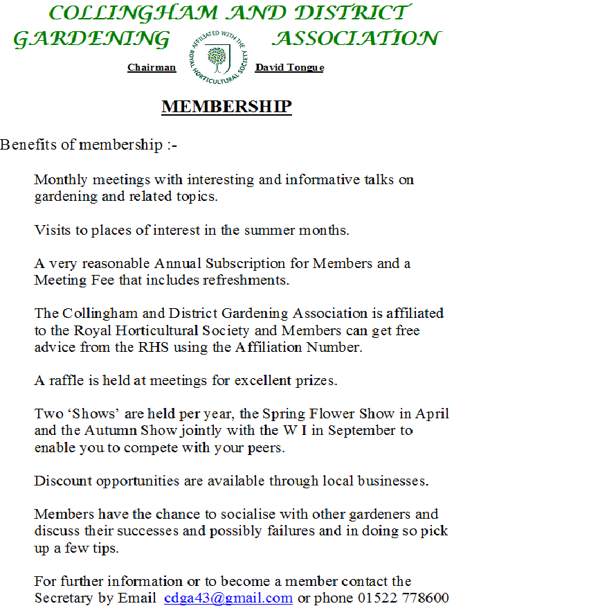 Collingham and District Gardening Association Membership Benefits