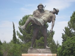 Statue erected by the people of Turkey showing kinship to the Fallen of all nations, Gallipoli