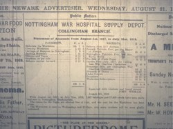 1918 working party account c/o Newark Advertiser