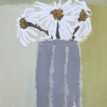 Three Daisies in a Pot acrylic on paper