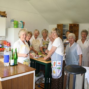 The Ladies hard at work catering for the players & our guests. L-R Jean Lemon. Val Jones, Wyn Webber, Gerry Hares, Nora Mitchard, Margaret Reynolds, Ella Hicks, Barb Cox