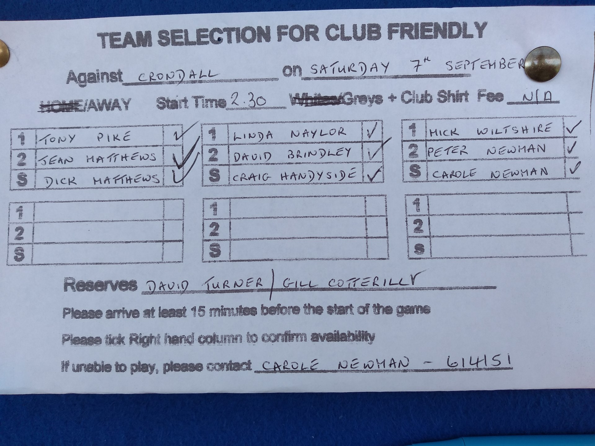 Fleet United Bowling Club Friendly Matches