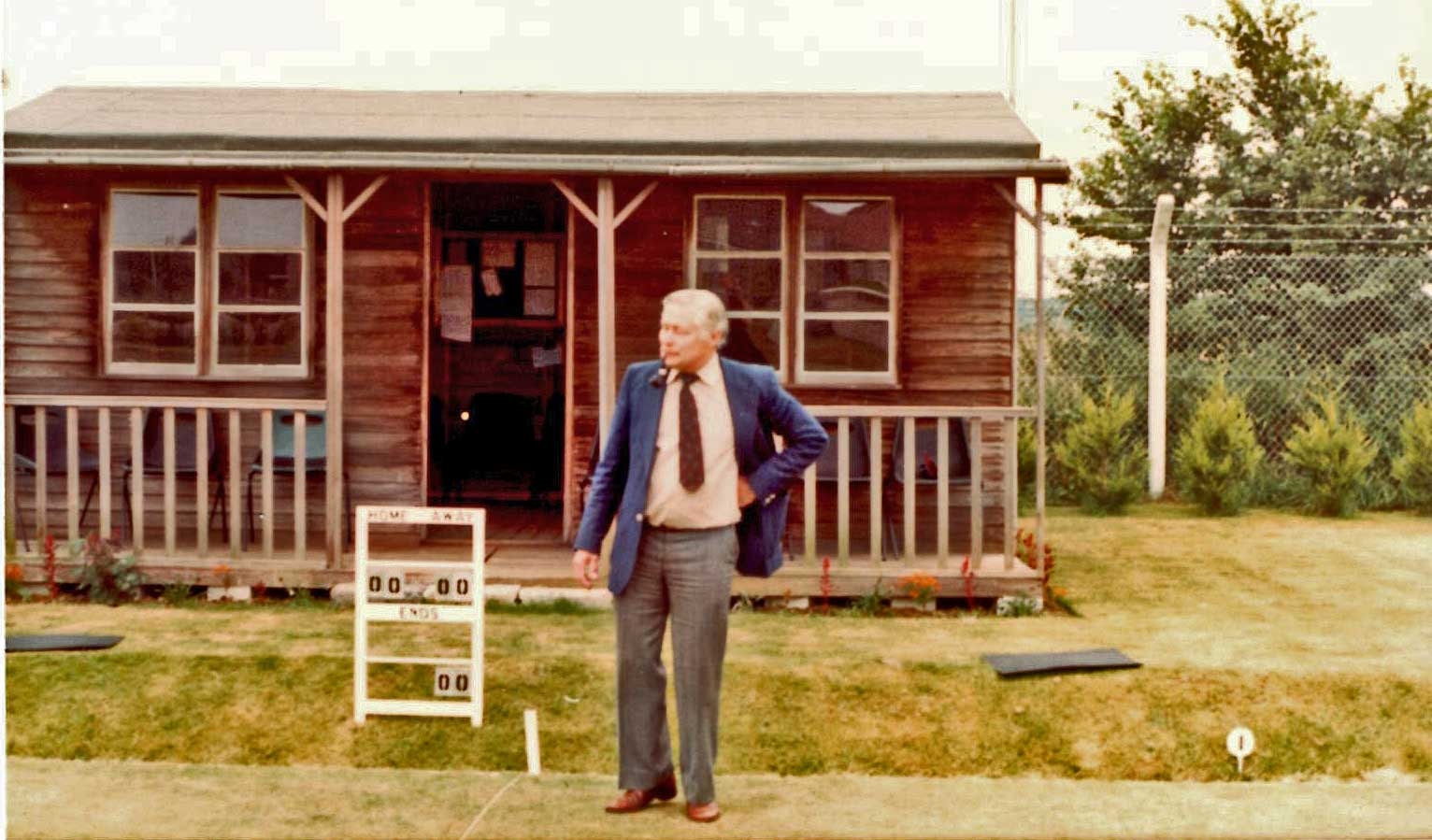 Original Cedarwood Pavillion with first Club Captain, Don Milnes in foreground