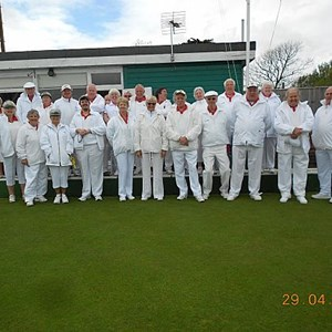 A Team Photo before the game. Heavy rain in the morning a fine afternoon. Sandown 135 shots Wells 97 shots