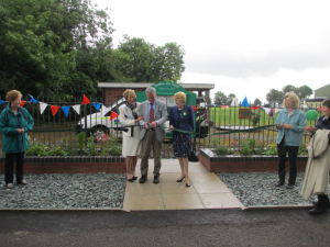 Cllr Bruce Laughton and Jane Jefferson opening the WI Garden