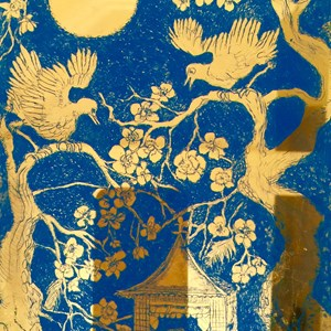 Detail of Moon, birds & Blossoms.