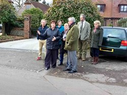 Head Teacher Mrs Gower tells Mr Balfour how speeding traffic impacts Bredgar school
