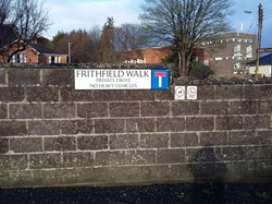 The entrance to Frithfield Walk