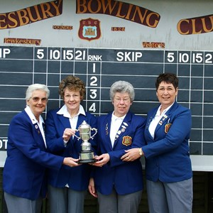 2003 GWBA Fours Winners. Mo Sutherland, Janet Bishop, Rose Rutter (sub for Marion Haynes) Pam Margrett.