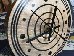 Turned clock with resin inserts