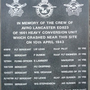 The inscription on the Lancaster Bomber Memorial