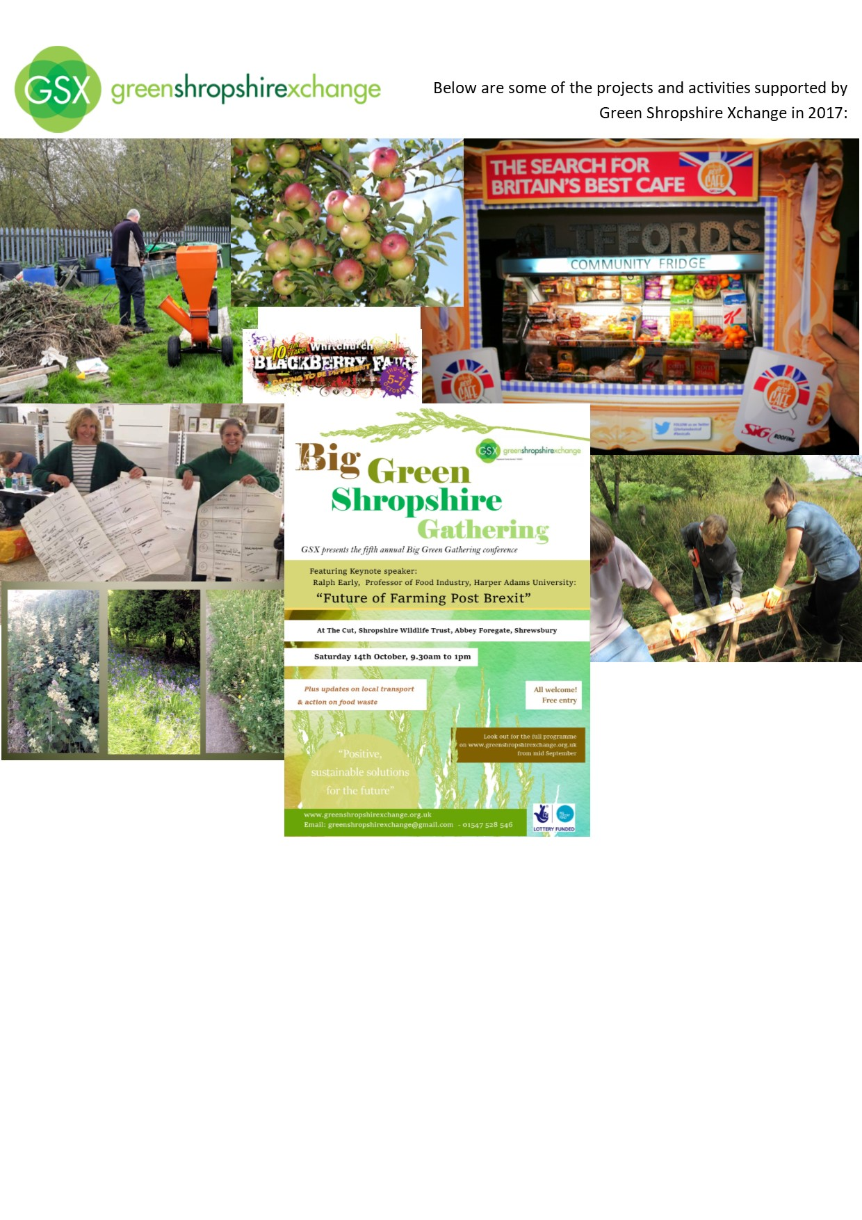 Some of the projects and activities that Green Shropshire Xchange (GSX) supported in 2017