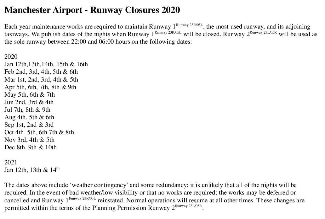 Chelford Parish Council Manchester Airport Runway Maintenance