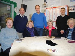 The Navy News Tuesday evening team, l to r: Ms Jennifer Grayston-Pearce, Cdr Gerry Williams (Editor), Lesley Taylor, Christopher Webb, Sue Ffitch, Stuart Waterman (Recorder) and Nancy Thompson.