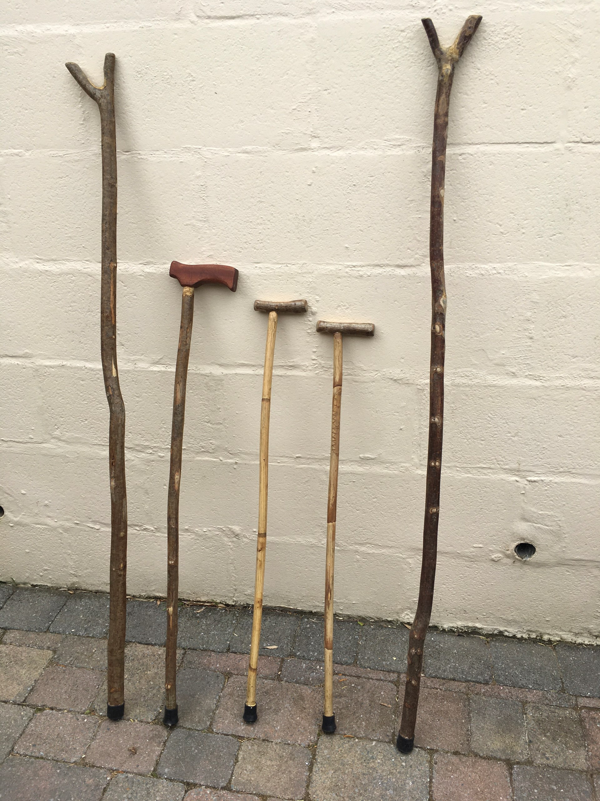Walking sticks and Thumb sticks made from various woods.