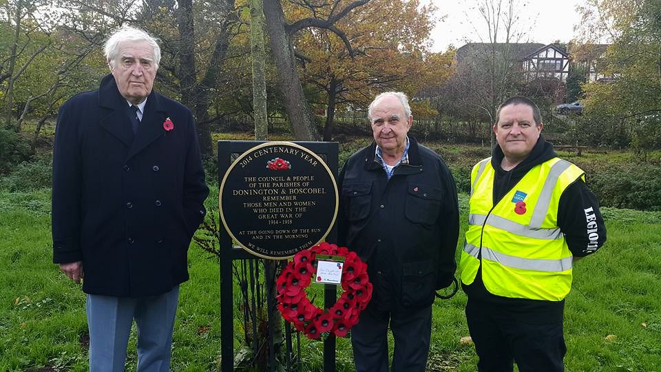 Councillors David Beechey, Don Hickman and David Williams laying the poppy wreath on Armistice day 11th November 2017