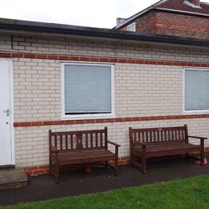 The studio from the Stubbington Avenue gardens of Portsmouth Association for the Blind