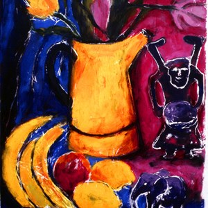 Still life; Yellow jug & bananas.  Sold £140.00