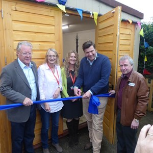 James Heappey MP opening the Wells Shed (Martin Curran - Frome Shedder, (Wells Shed Chair) on the right