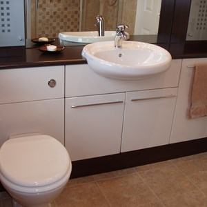 Brown and Cream Bathroom Suite