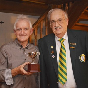 Richard Coombs and Club President Tom Cardoza with the Club Singles trophy - 2016