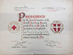 Dorothy Colton's British Red Cross certificate