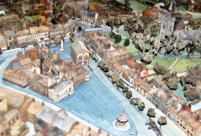 The marketplace in the 1930s. A tabletop model made by Harry Carter