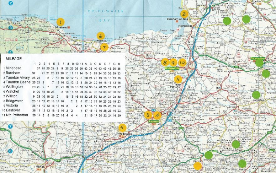 West Somerset Bowls League Map of WSL clubs
