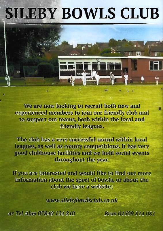 Sileby Bowls Club RECRUITING NEW MEMBERS