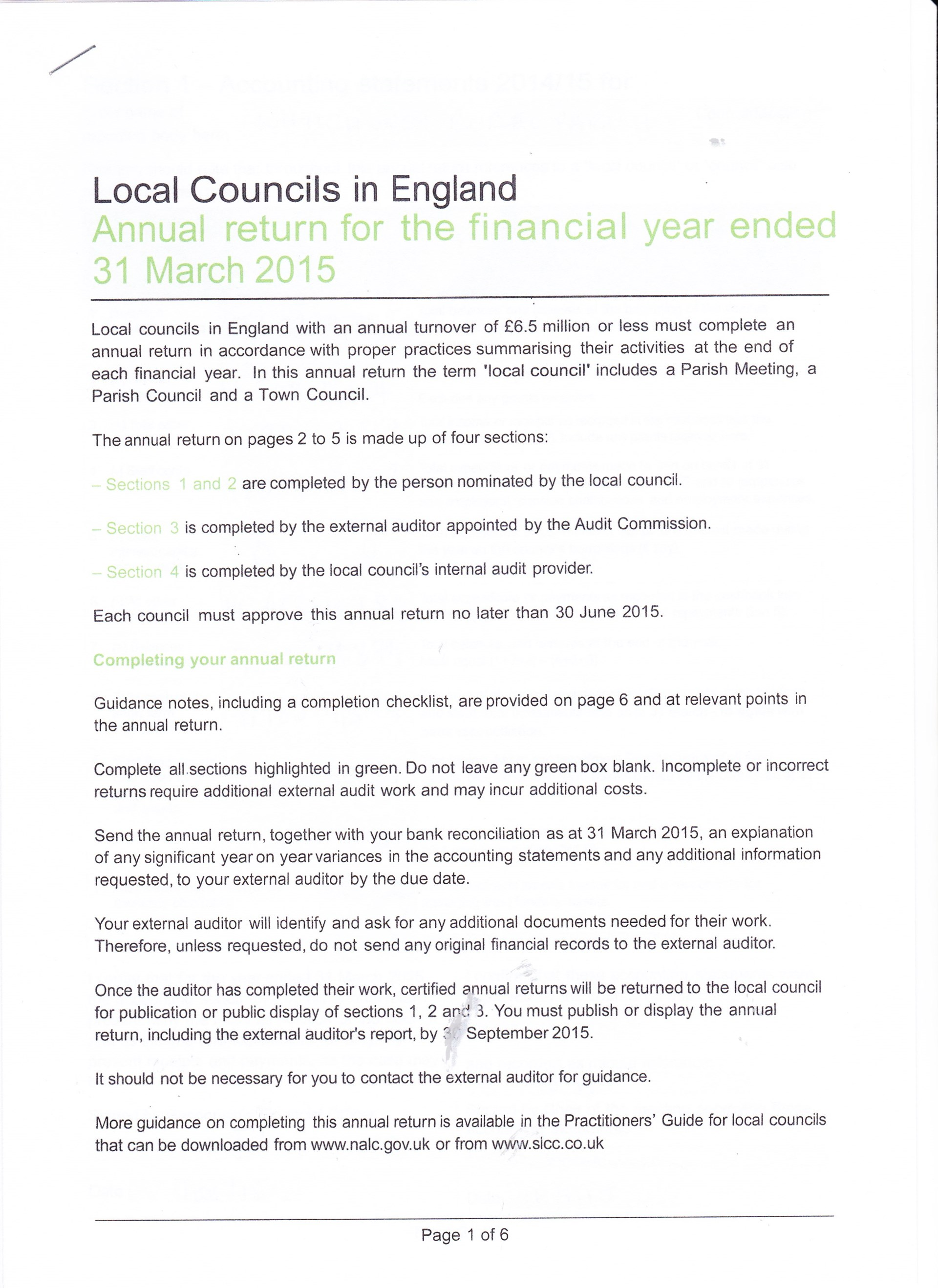 Whitchurch Rural Parish Council YEAR END ACCOUNTS 2014-2015