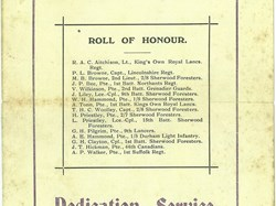 Copy of the service sheet for the unveiling of the South Collingham Memorials July 1920