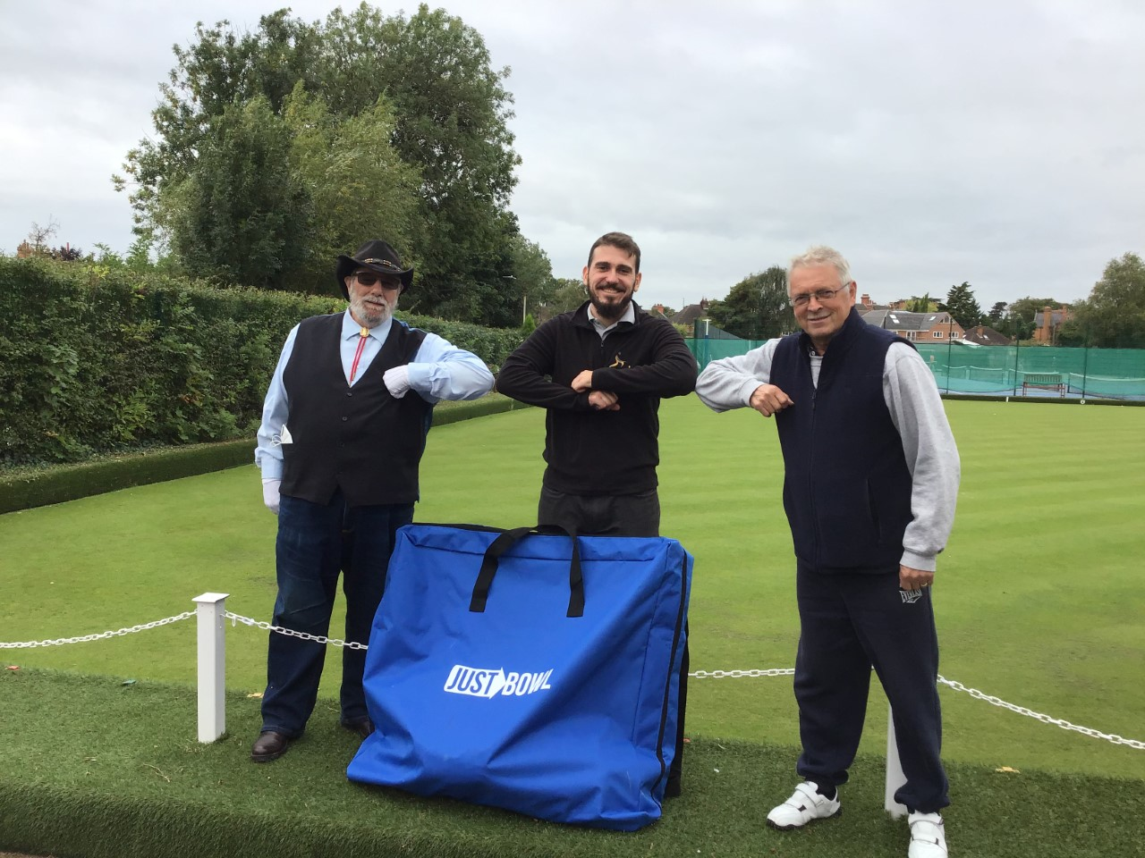 George Babalev, Club Development Manager for the BDA presented the Just Bowls bag and equipment to Club President Mick Reeve and Chairman Terry Whiteside to kick start the programme.