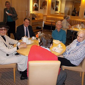 The 2017 Lunch for volunteers at South Downs College. l to r around the table: Diana, John, Michael, Irene and Dave with his back to the camera. Janet is standing in the background.,