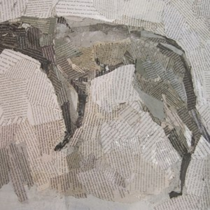 Lurcher collaage on paper 38 x 51 cm SOLD