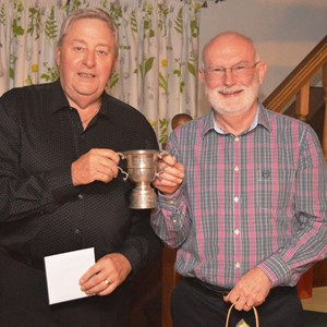 Don Butchers and John FitzGerald with the 2-Wood pairs trophy - 2016