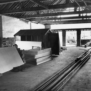 The Main Hall used as a store as work progresses